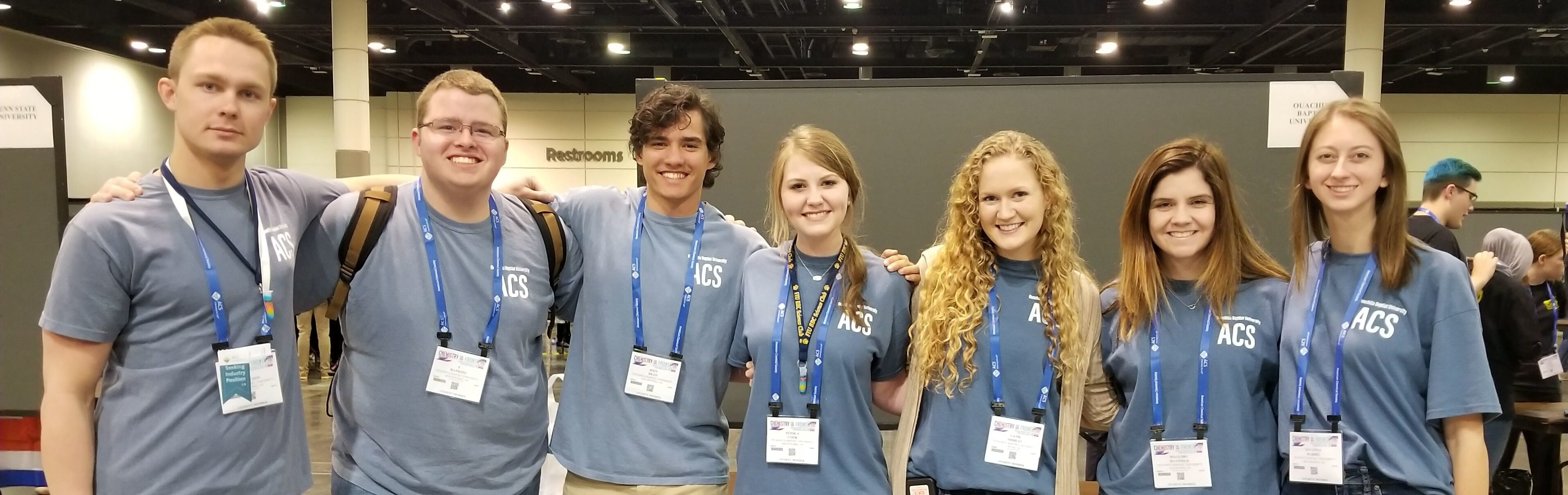 Seven Ouachita students presented research and participated in a demo-exchange at the American Chemical Society national Meeting and Exposition this spring, including (from left): Alex Podguzov, Travis Hankins, Joey Dean, Jessica Snelgrove, Catie Shirley, Mallory Mayfield and Savanna Harris. Photo by Sharon Hamilton.