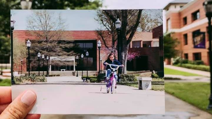 Addy's childhood photo on campus