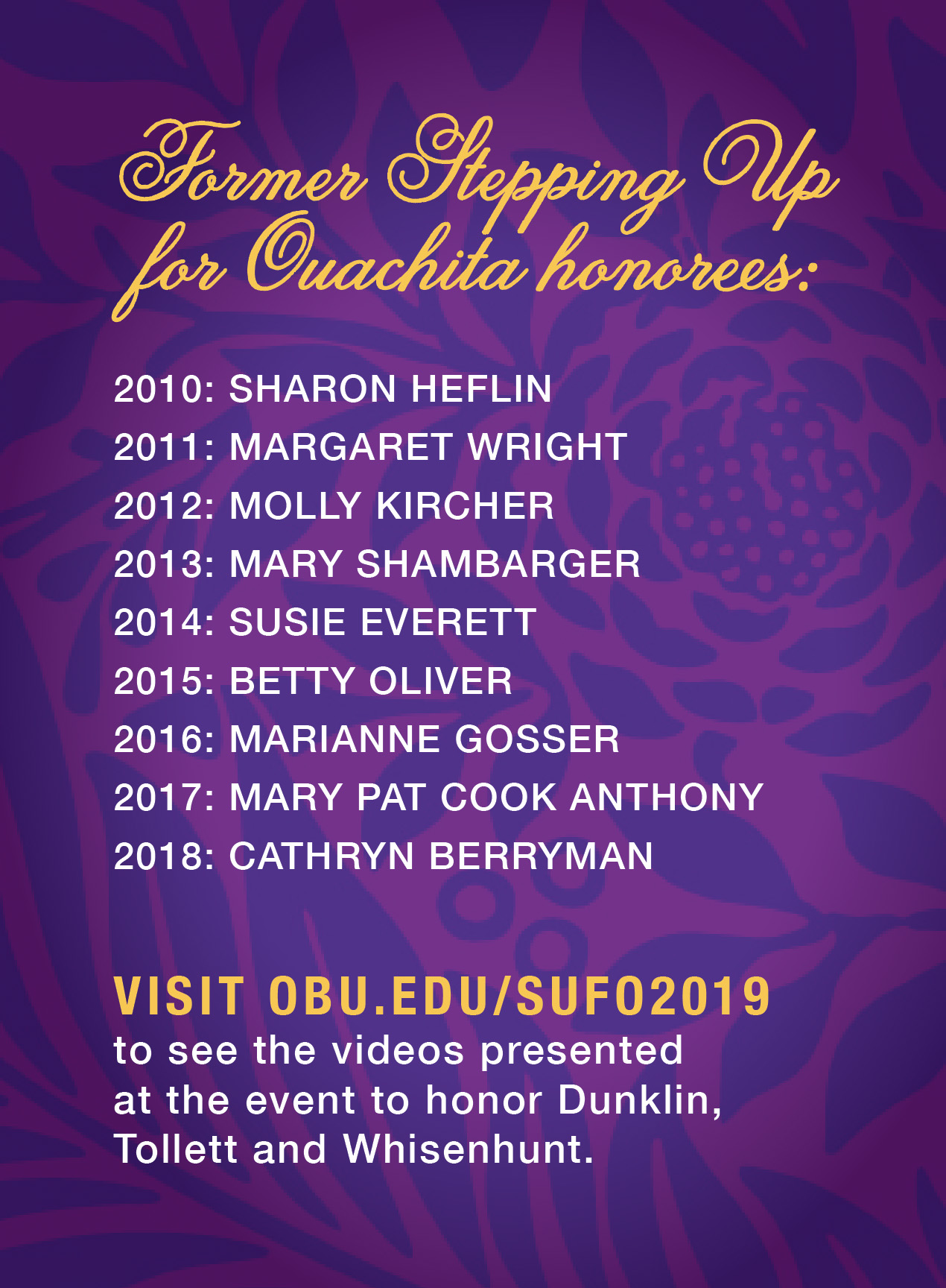 Former SUFO honorees list