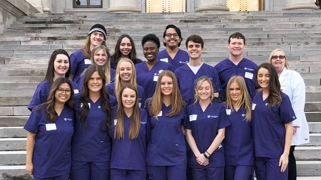 Nursing students at Little Rock capitol