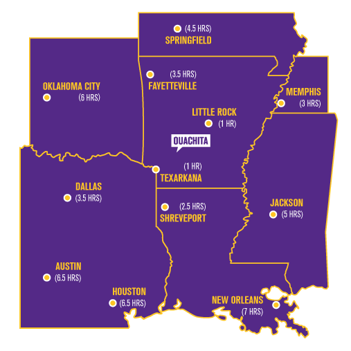 Distances from Ouachita