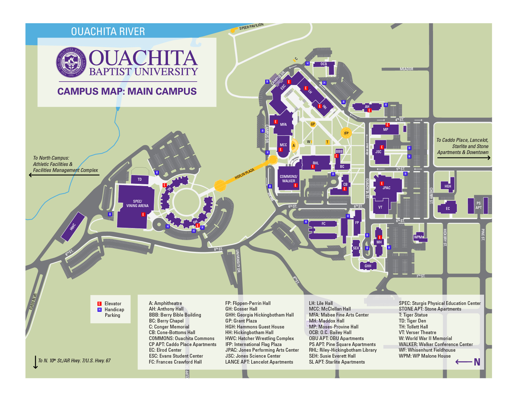 Ouachita campus accessibility map