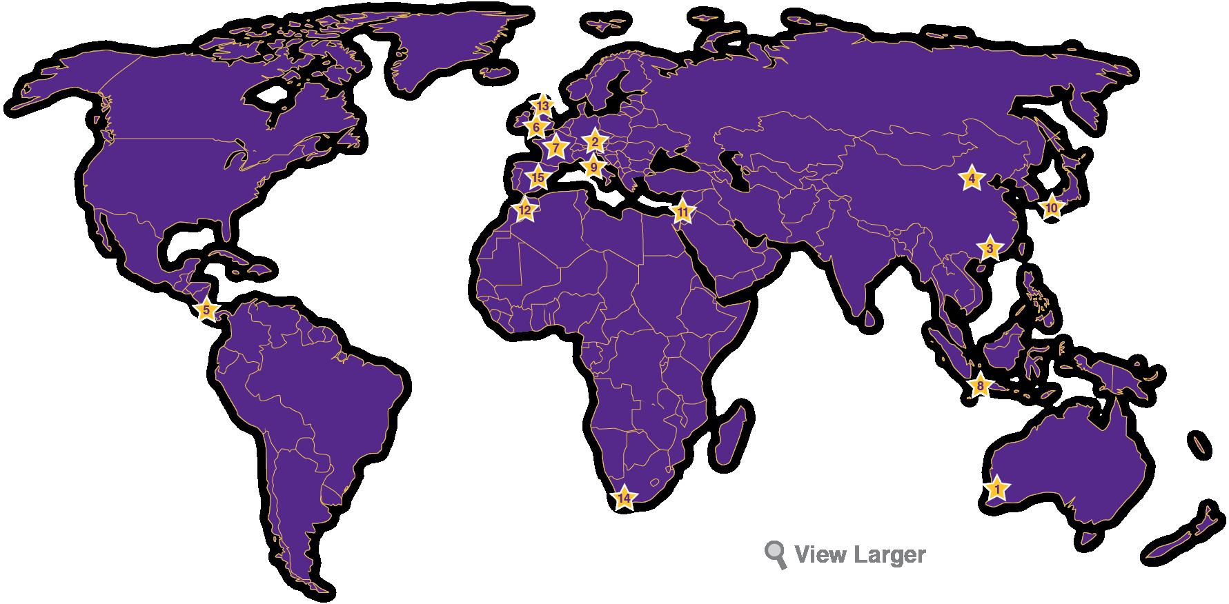 OBU Study Abroad Map