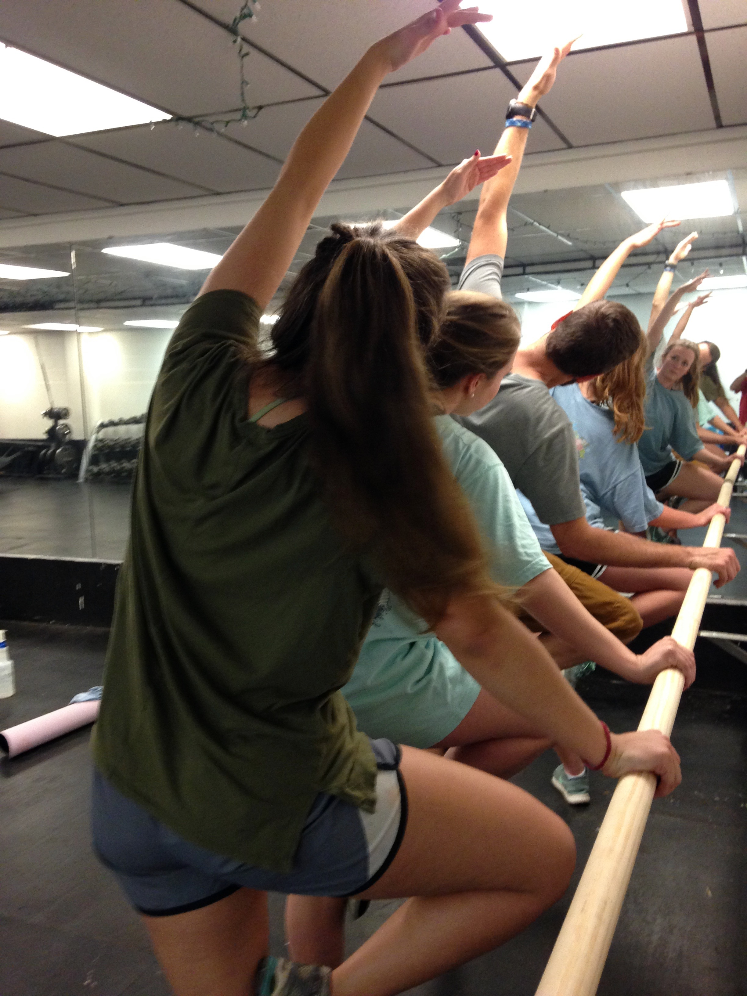 Fitness class stretches